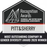 Award badge that says pitt&sherry Most Outstanding Company in Gender Diversity Award 2020 Winner